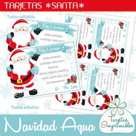 Navidad Aqua Tarjetas Santa Claus | Navidad