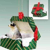 Australian Shepherd Gift Box Christmas Ornament Blue Docked Tail