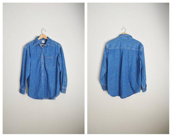 645208667 vintage 90s classic jean dark wash button down blouse shirt -- womens  medium oversized
