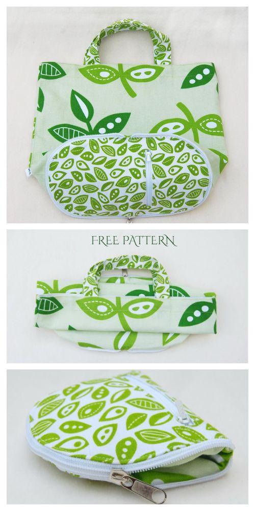 DIY Fabric Shopping Bag in Purse Free Sewing Pattern