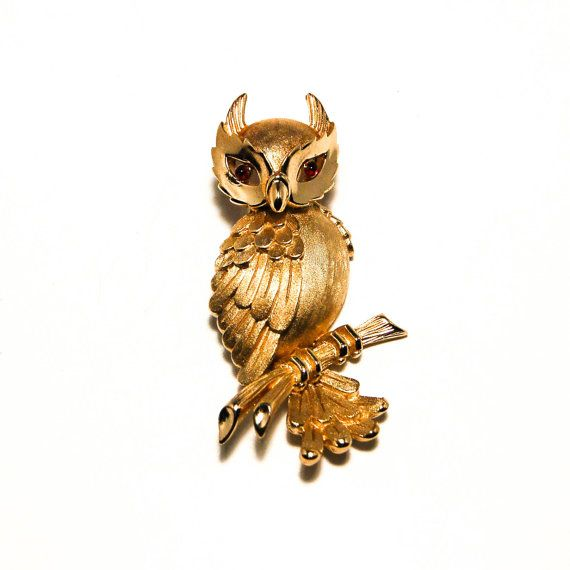 Vintage 1960s Crown Trifari Owl Brooch Gold Tone Ruby Red Cabochon Eyes New Old Stock with Original Tag Advertised in Vogue