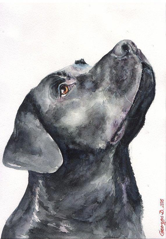 Black Labrador Retriever Print of the от GeorgeWatercolorArt #labradorpuppies #labradorretriever #labradorretrieverpuppies