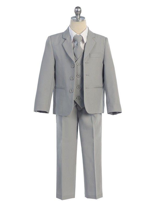 S1 BOY Formal Party Black Tuxedo Suit Royal Blue Vest /& Tie 2 3 4 6 7 8 10 12 14