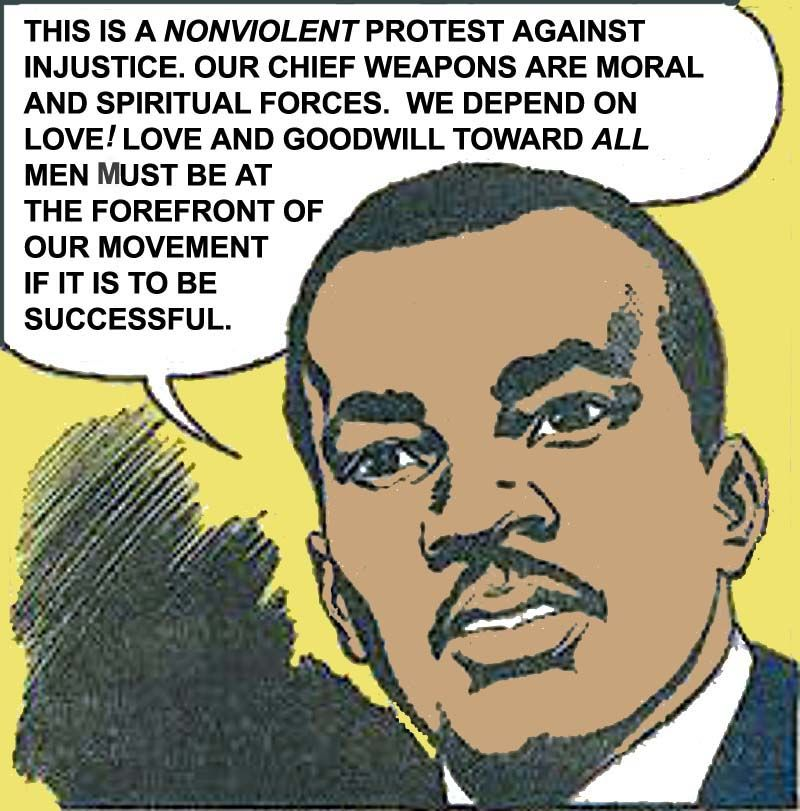 Free Comic Book Day History: Early Civil Rights Movement. Retro Comic. Martin Luther