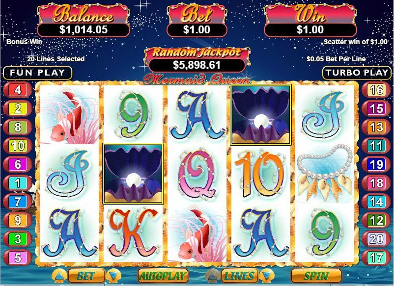 25 free chip and 10 free spins on mermaid queen slot