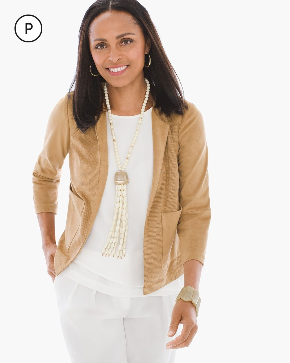 Petite Faux-Suede Perforated Jacket