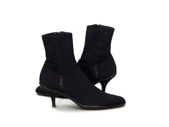 56b0dbbb9efea Vintage Prada Ankle Boots Black Stretch Fabric Booties Pointed Toe and Kitten  Heel 1990's Women's Sh
