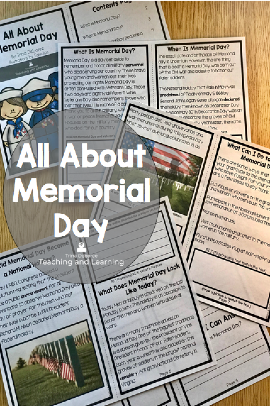 Informative All About Memorial Day Reader For Kids