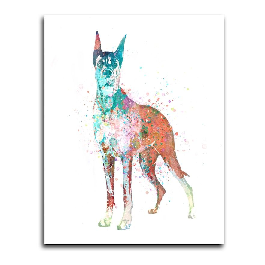 Great Dane Wall Art - Watercolor Dog LG