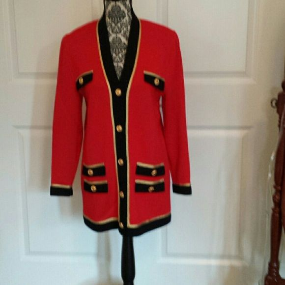 St. John Knitted, red, w/black and gold trim and buttons St. John Jackets & Coats