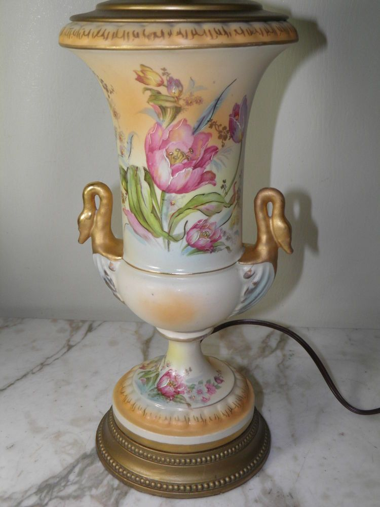 Antique Hand Painted Porcelain Floral Gilded Swan Handle Urn Table Lamp Hand Painted Porcelain Porcelain Painting Hand Painted