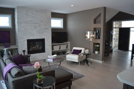 Soft Grey Wall Color Scheme and Dark Modern Sofa Sets in Small