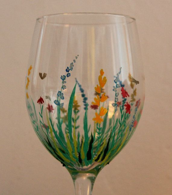 Painting on glass field of flowers hand painted wine for Painted wine glasses