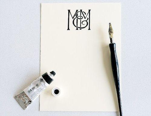 couple. monogram. Modern Hepburn
