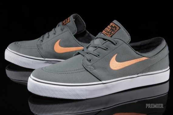 Nike SB Stefan Janoski - Dark Mica Green - Atomic Orange - SneakerNews.com