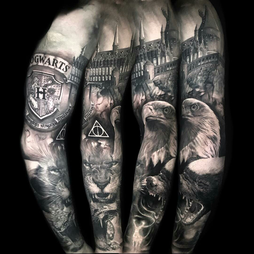 Pin By Emmy S On Tattooess Full Sleeve Tattoos Harry Potter Tattoo Sleeve Half Sleeve Tattoo