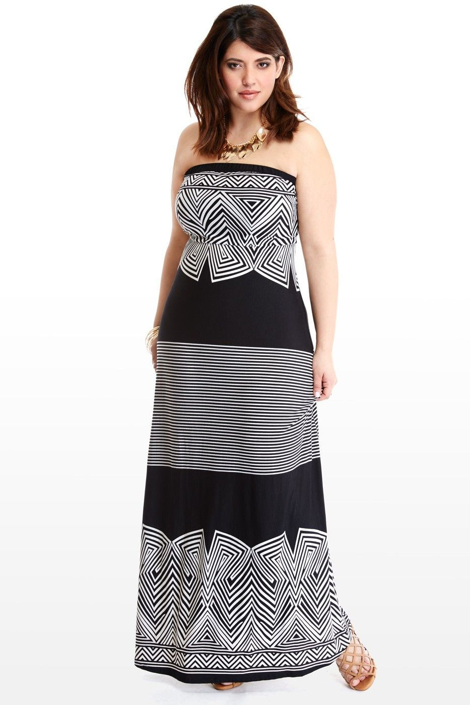c8d14457d Plus Size Striped Strapless Maxi Dress | Fashion To Figure | Dresses ...