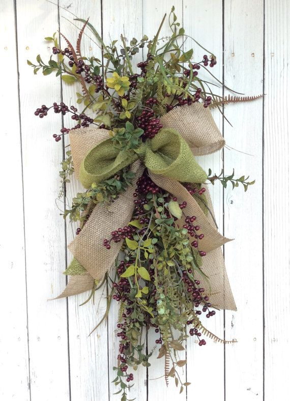 Berry Swag Door swag All season Swag Summer Wreath Back by Keleas $59.99  sc 1 st  Pinterest & Berry Swag Door swag All season Swag Summer Wreath Back door ...