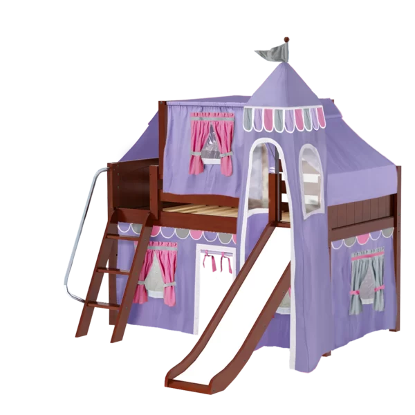 Zoomie Kids Wow Twin Loft Bed with Slide Tent and Curtains