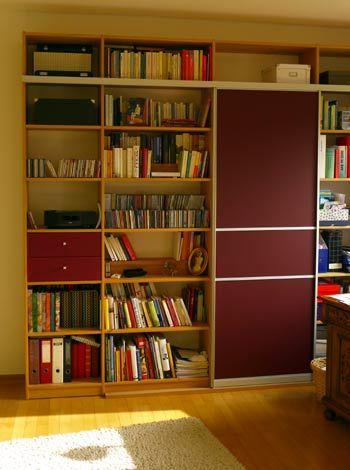 Bücherregal aus Buche Seeland / Gleittür raumplus