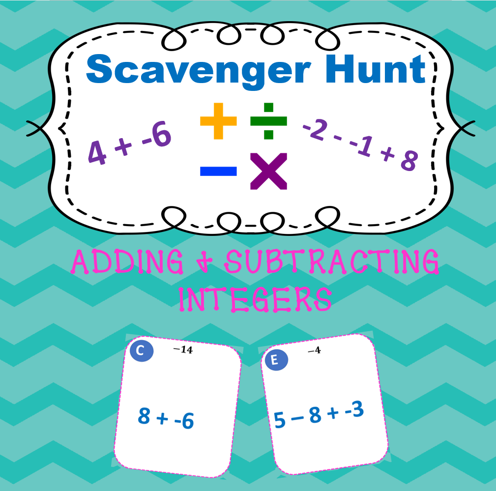 Adding & Subtracting Integers Scavenger Hunt   Kids moves ...