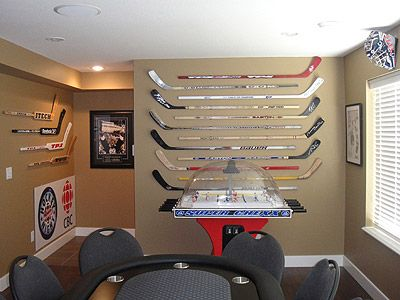 Man Cave Hockey Room : Image detail for whether you need to hang or hockey sticks