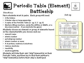 periodic table battleship - Periodic Table Of Elements Handout