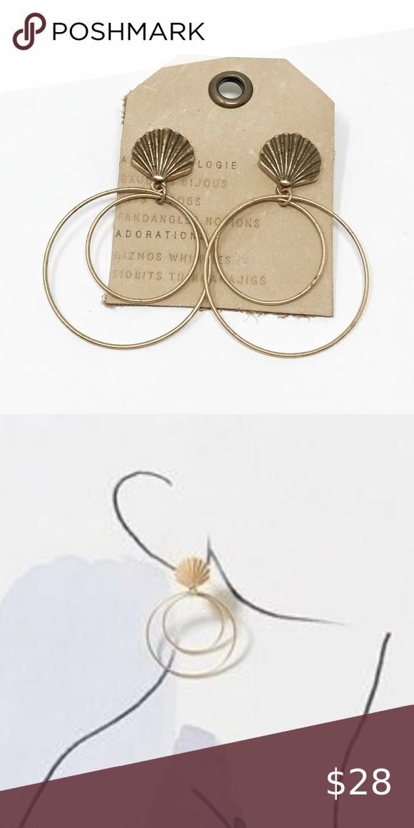 Anthropologie Seashell Hooped Earrings Anthropolog