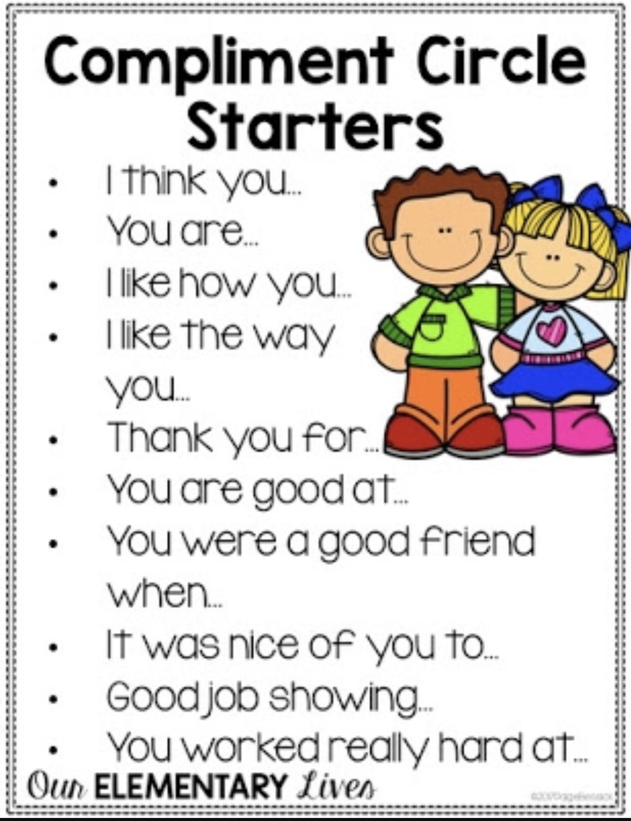 Compliment Sentence Starters