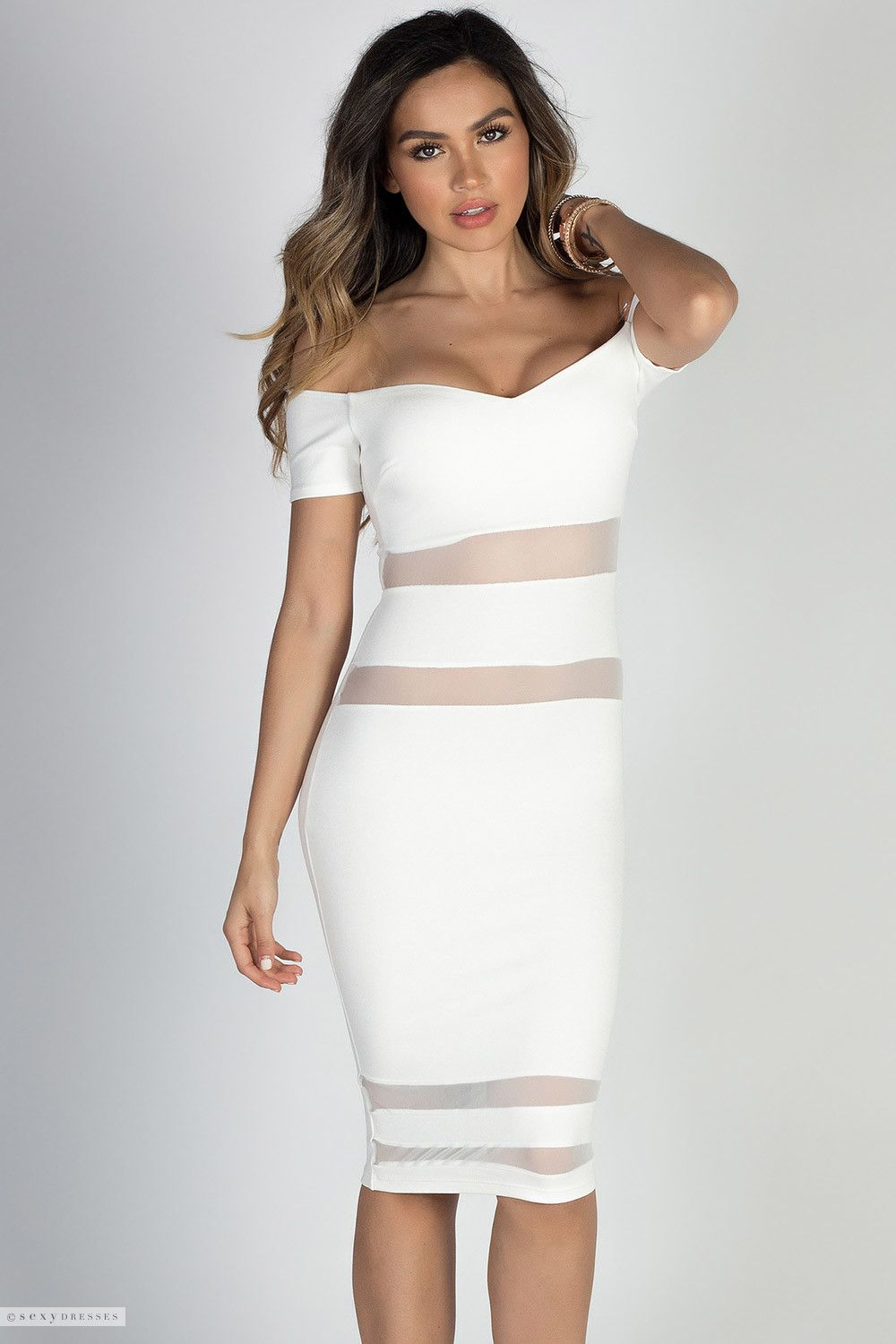 d4045b6bf462 Short Sleeve Bodycon Sweetheart Little White Dress with See Through Cut Out