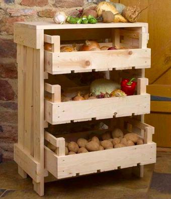 すのこでキッチンストッカー Mobile Kitchen Island Retro Home Decor Vegetable Storage