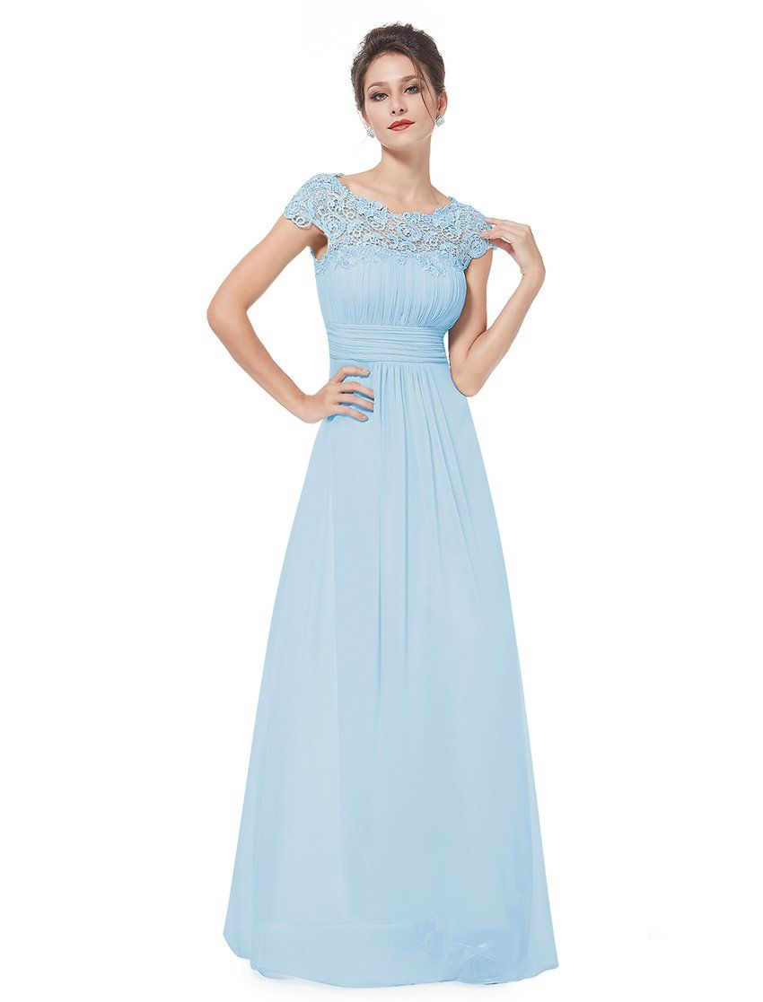 bace41500831 Ever Pretty Women s Cap Sleeve Lace Neckline Ruched Bust Evening Gown 09993