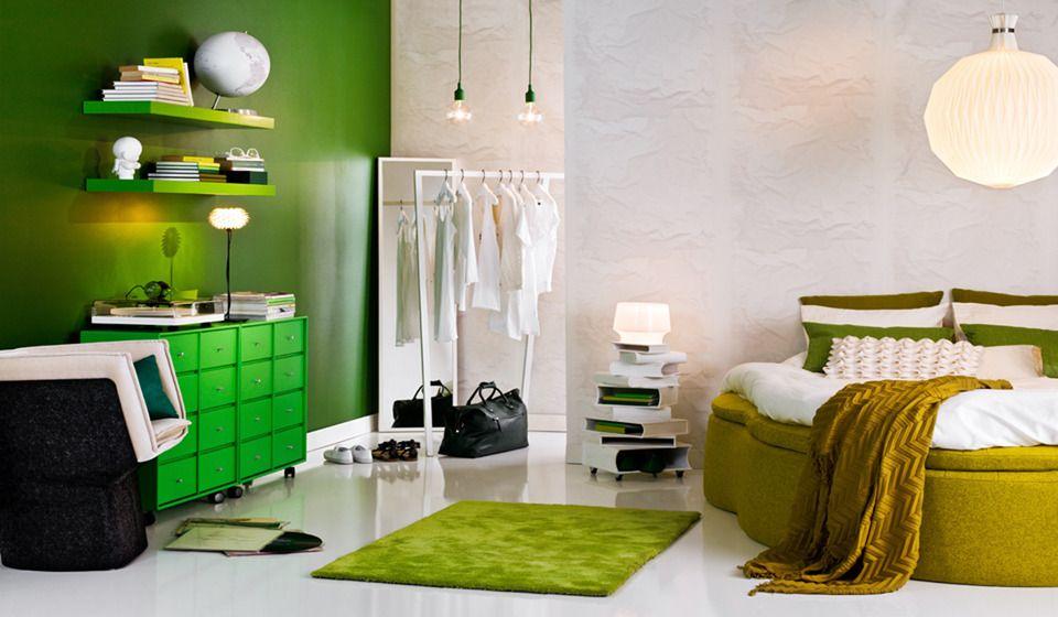 Green bedroom splashes · colorful bedroom designscolorful interiorswhite