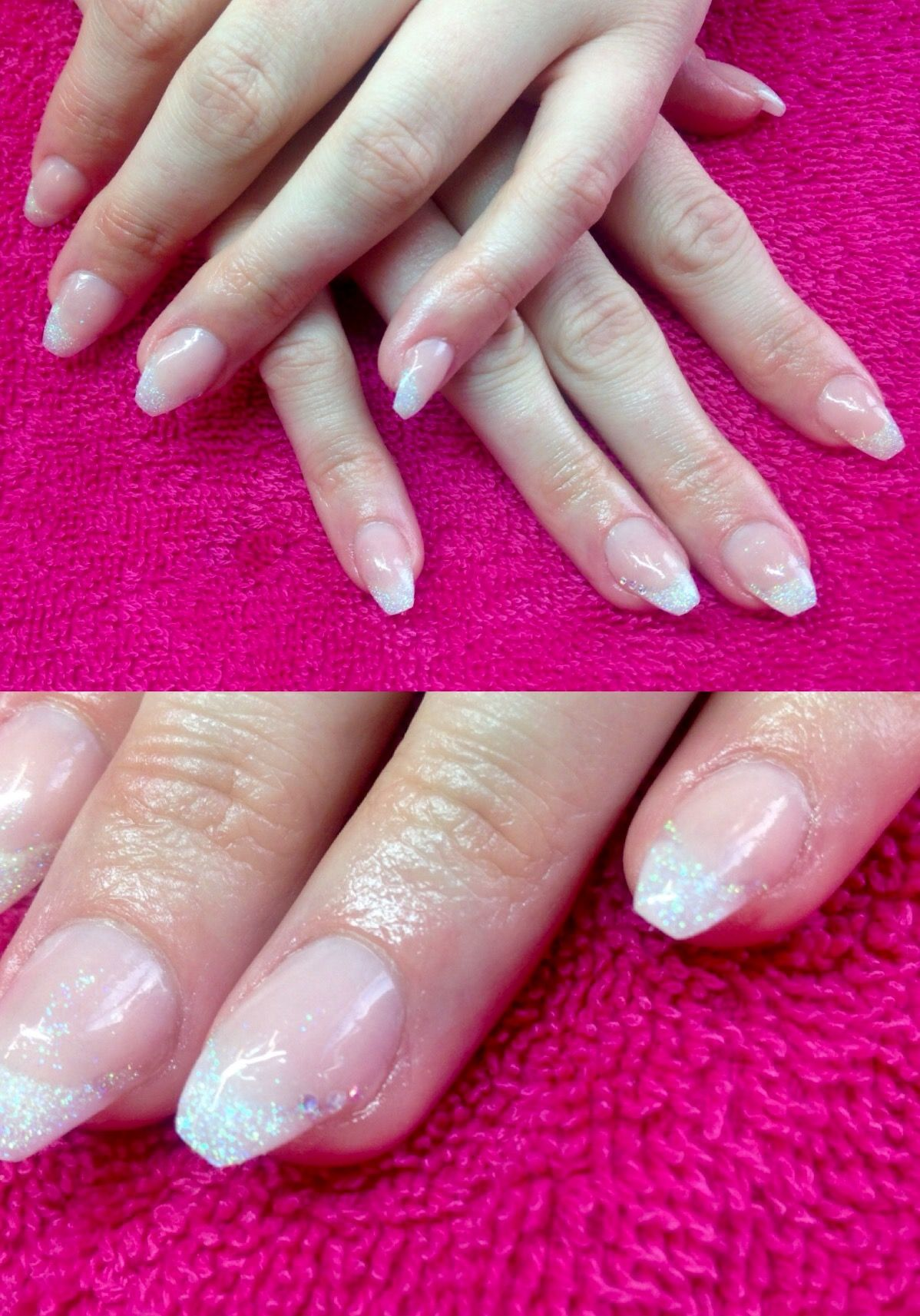Extended nail bed -pink an white acrylic | Nails by me | Pinterest