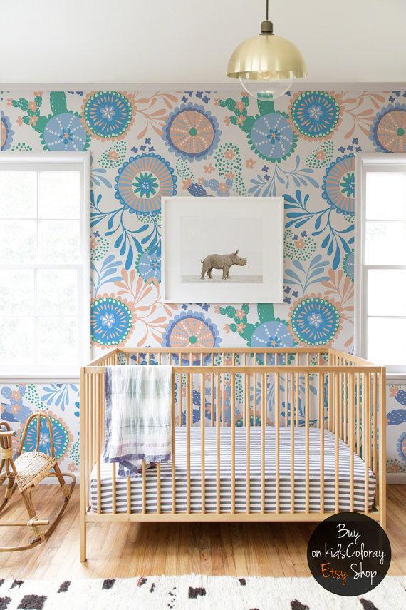 Lovely Bunte Vintage Tapete Repositionable wiederverwendbar Kleber selbst blau Kinder Wand Wandbild