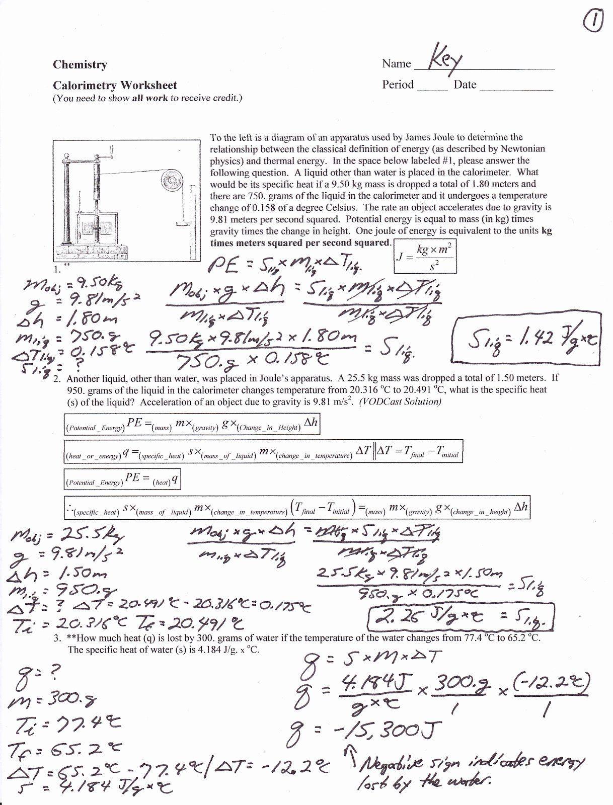 Calorimetry Worksheet Answer Key Awesome Mr Brueckner S