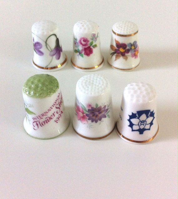 Floral Collectable China Thimbles 6 Porcelain by YesterHere