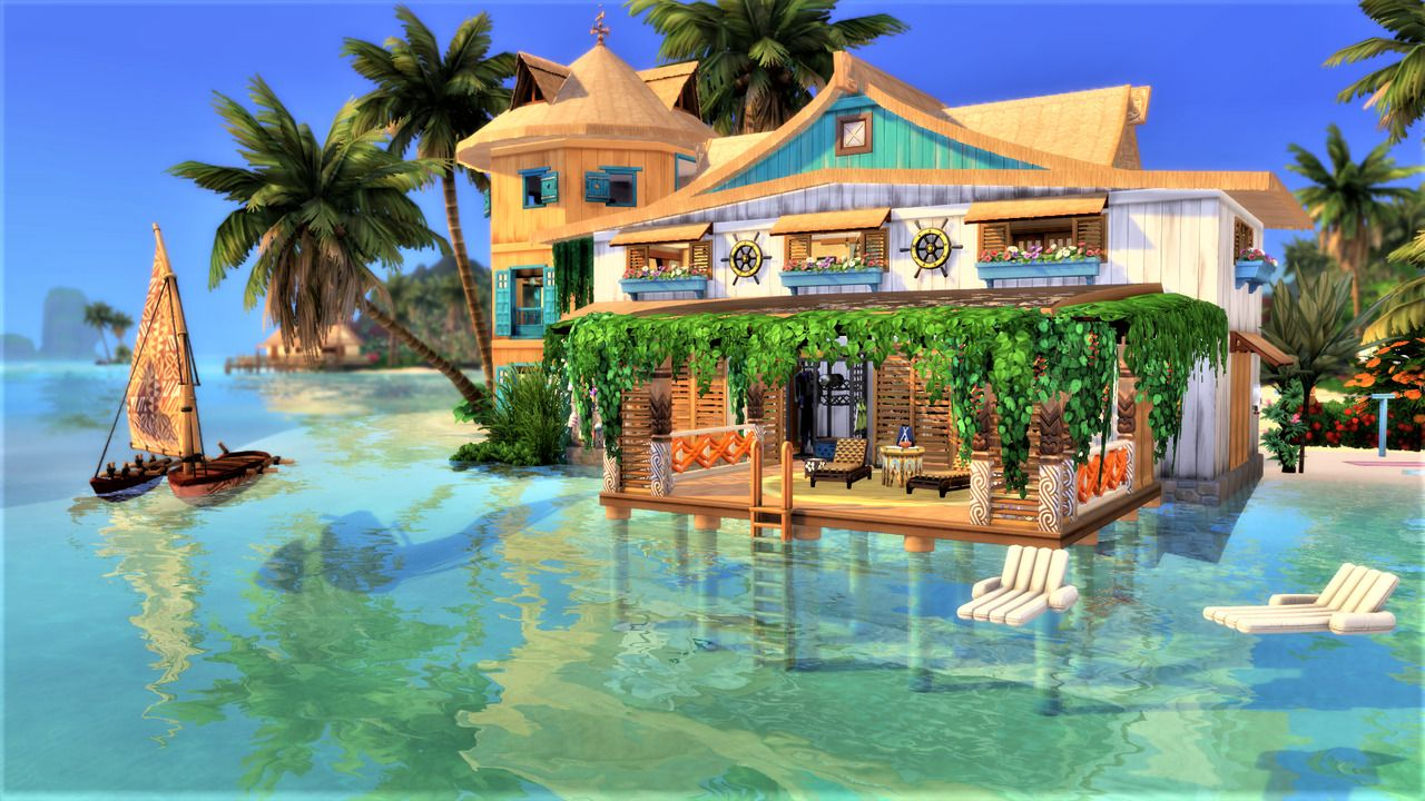 The Sims 4 Creations By Agathea Coconut Shallow Coconut Shallow Sulani Sims 4 House Building Sims 4 Houses Sims House Design