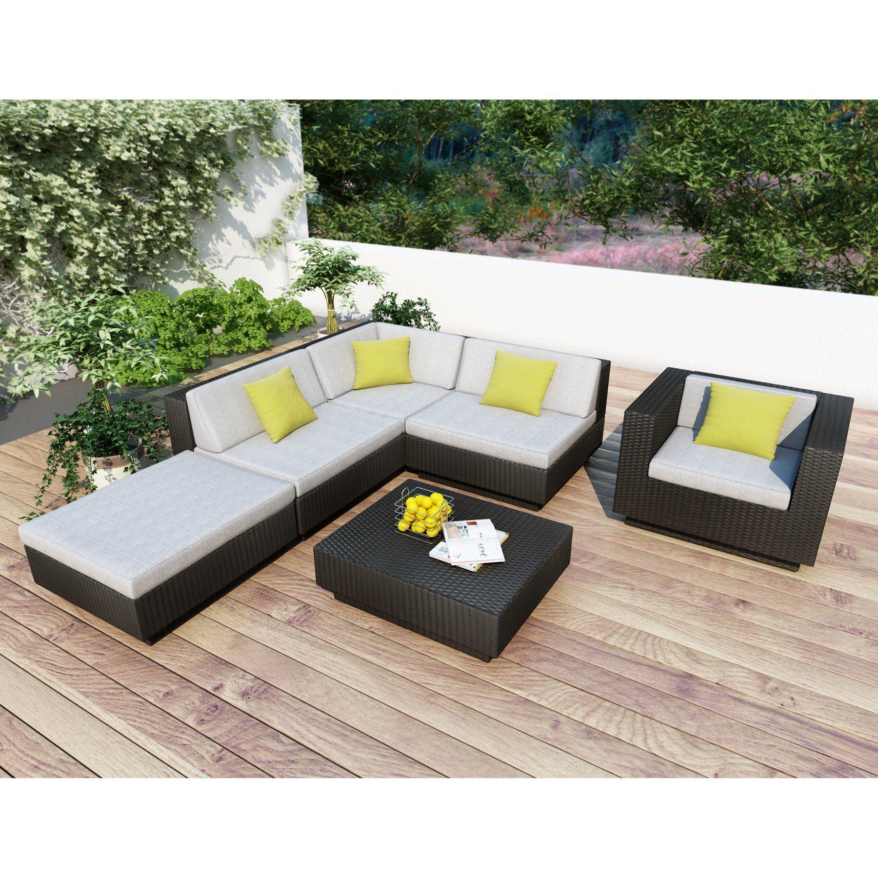 Outdoor CorLiving Park Terrace Textured Black Sectional Conversation Set - PPT-303-Z