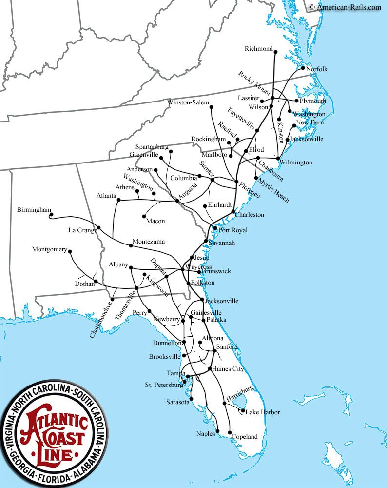 The Atlantic Coast Line Railroad Maps Of Train Routes Pinterest - Us railroad traffic map