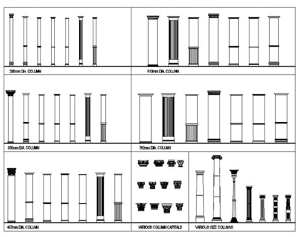 Download this full collection of architectural columns for Full size architectural drawings