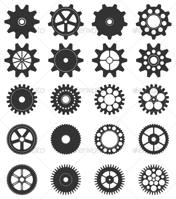 Vector Gear Collection Simple machines, Stenciling and Craft - new robot blueprint vector art