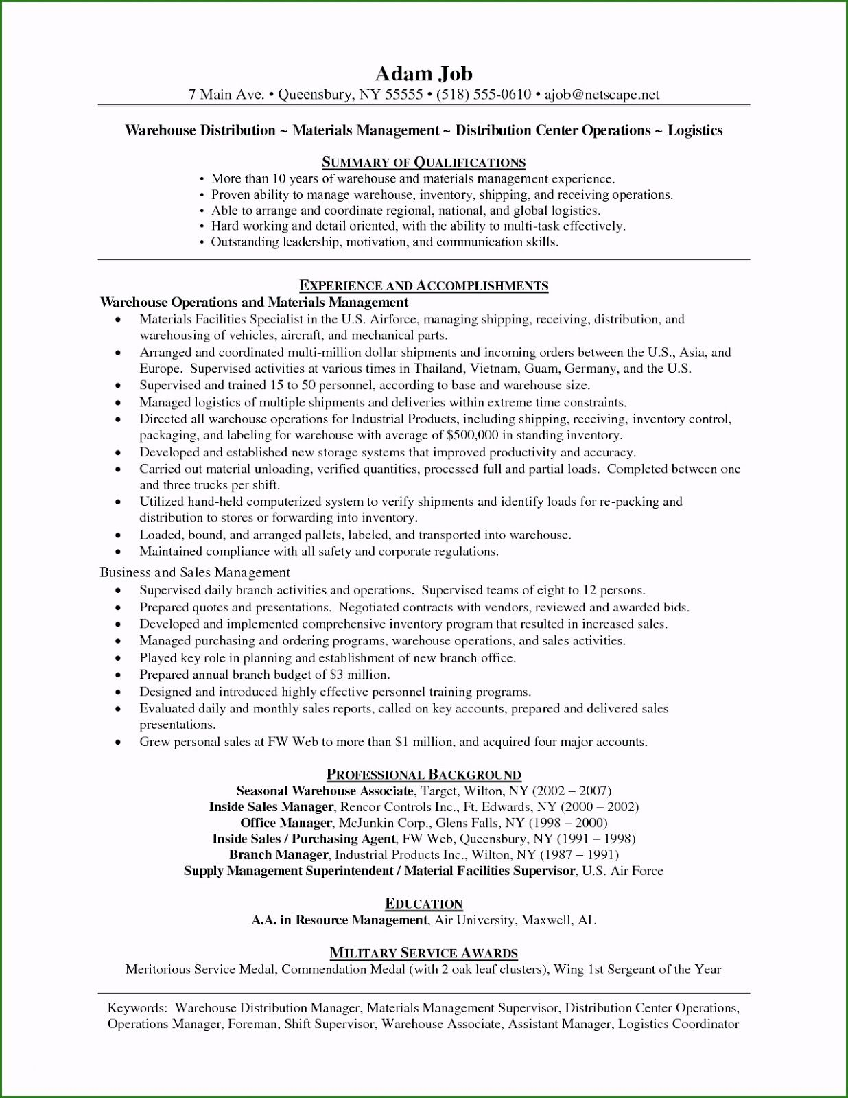 Resume Template Warehouse Worker Resume Objective Basic Math Job