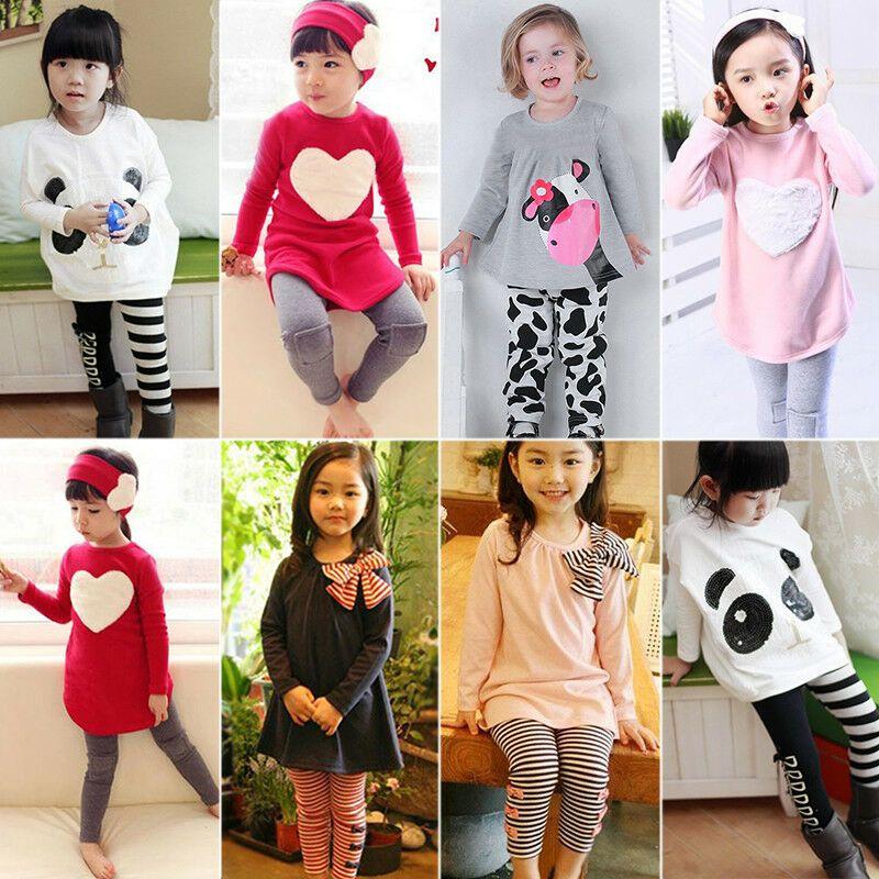 Bébé Enfants Filles T-shirt tops long pantalon legging Toddler Vêtements Tenues Ensembles