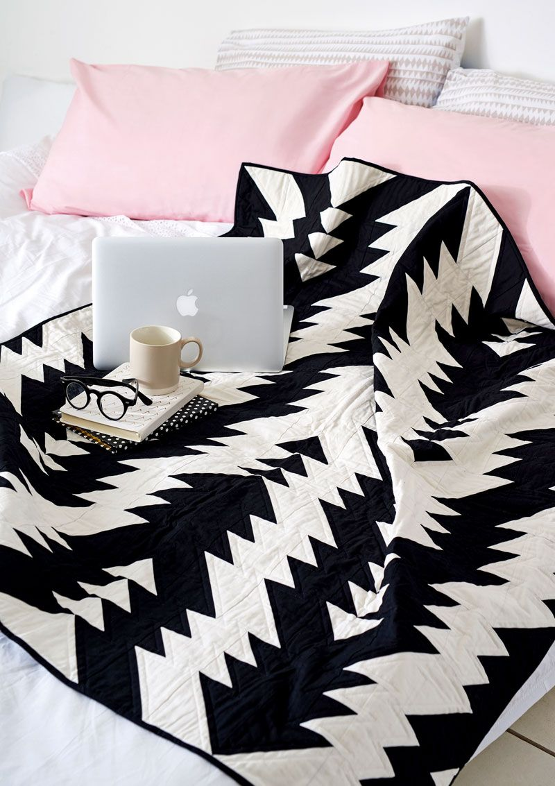 Black And White Geometric Quilt : black, white, geometric, quilt, Black, White, Geometric, Quilt, Wildwood, Pattern, Quilt,, Quilts,, Patterns