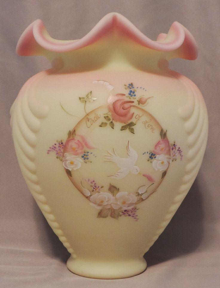 Fenton Burmese Hand Painted Glass Vase Glass Fenton Art Glass