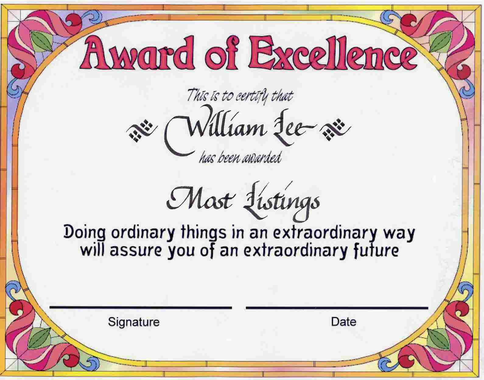 award certificates | Award of Excellence certificate award ...