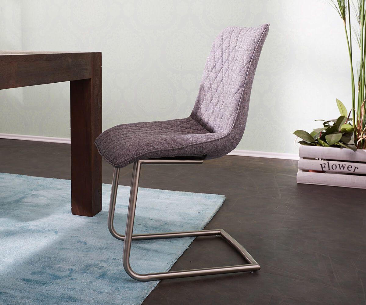 Freischwinger Odyssa Grau Abgesteppt Gestell Edelstahl Möbel Stühle  Esszimmerstühle