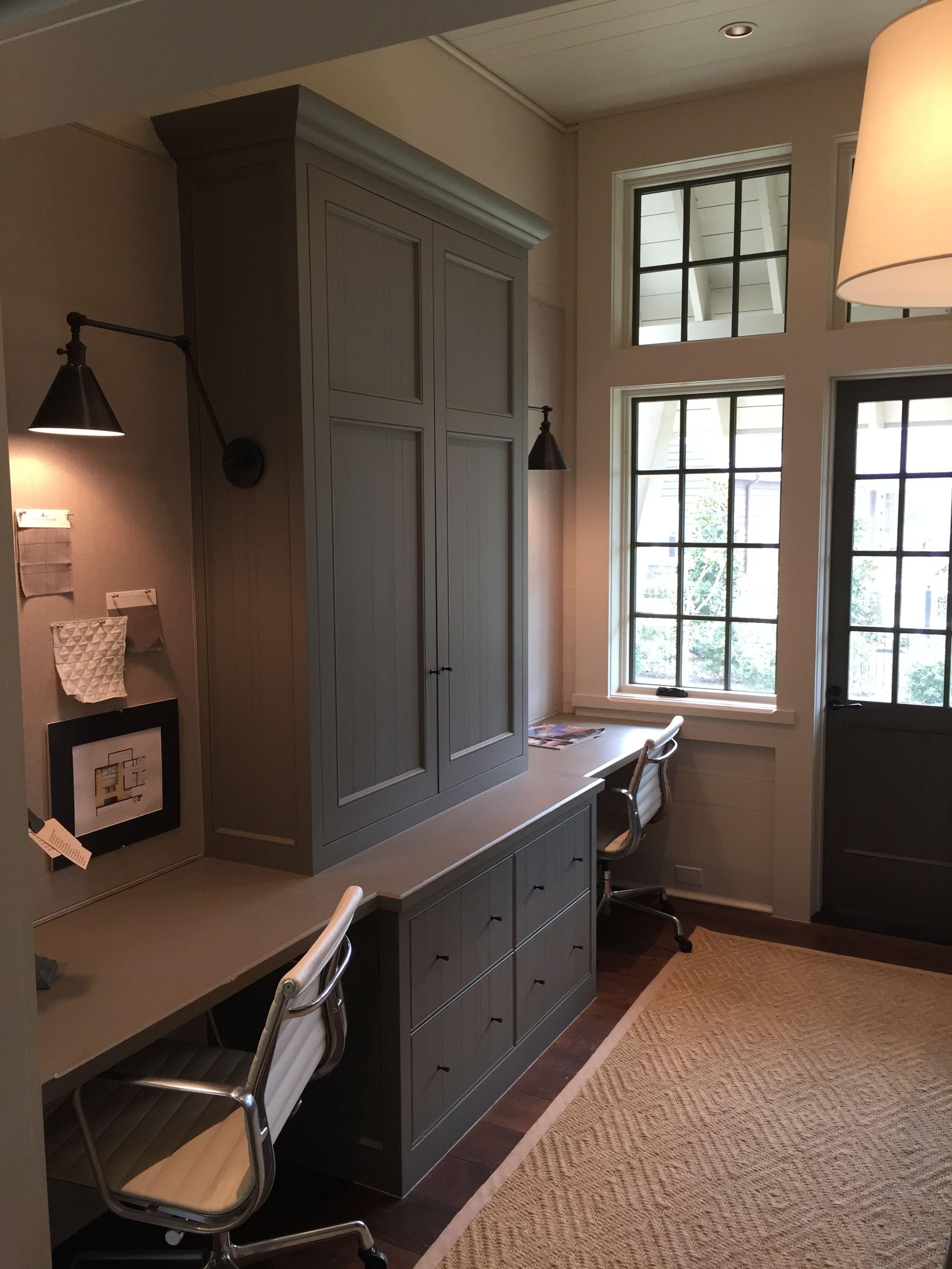 A Gracious Houston Home Office built ins, Built in desk
