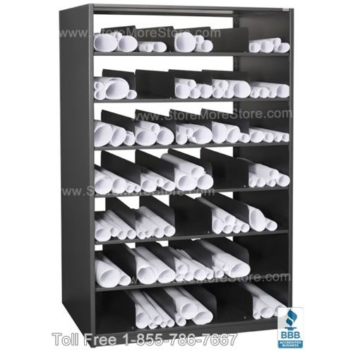 Architectural Rolled Plan Drawing Storage Shelving  48 w